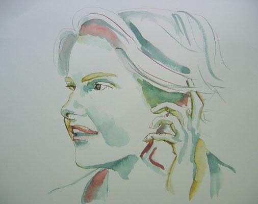 Portret; 40x40 cm incl. lijst (papier)