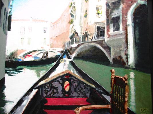 Venetië gondeltocht 3; 34x28 cm (canvas board)