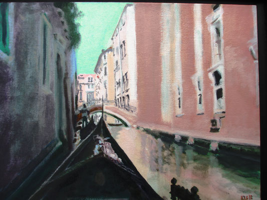 Venetië gondeltocht 1; 34x28 cm (canvas board)