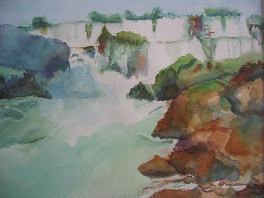 Waterval; 50x40 cm incl. lijst (papier)