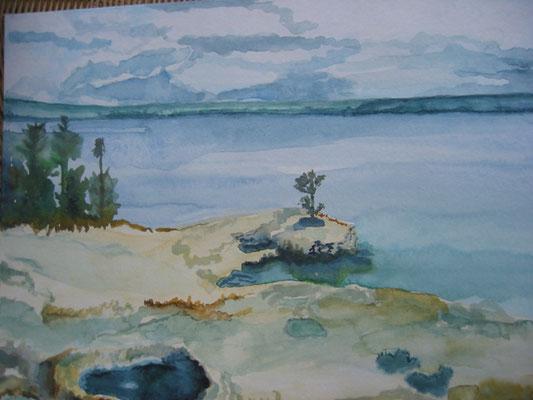 Yellowstone Park; 60x50 cm incl.lijst (papier)
