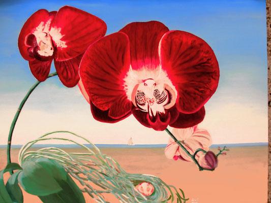 Orchidee magisch realisme; 80x60 cm (linnen)