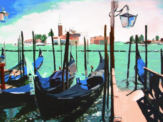 Venetië gondels; 50x40 cm (linnen)