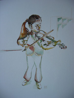 Meisje met viool; 40x50 cm incl. lijst (papier)