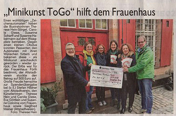 14.02.2018 Spendenübergabe, dokumentiert in den Fürther Nachrichten.