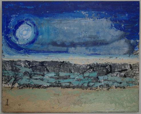 Bleus divers - taille du tableau: 50x61cm