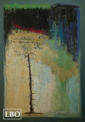"""""""Fin'arbre /LBO"""" de Liane Briand - taille: 50P 116cm x81cm - technique Acrylique mixte"""
