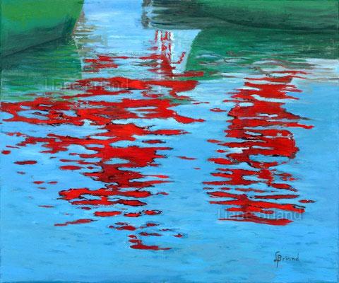Coques vertes à reflets rouges - taille du tableau: 65x54cm