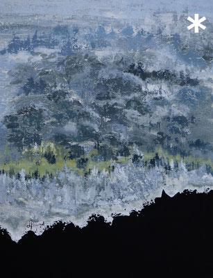 """""""Survole"""" de Liane Briand - taille du tableau: F40 100x81cm - technique Acrylique mixte"""