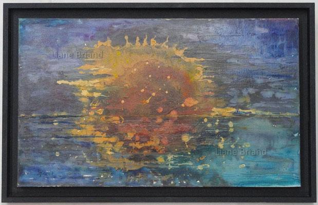 Soleil à l'horizon - taille du tableau: 40x40cm