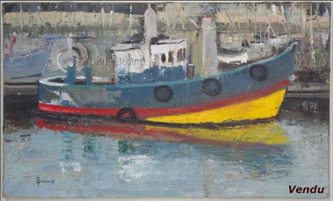 La Turbale port  - taille du tableau: 30x50cm