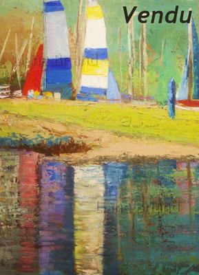 VENDU - Reflets au lac de Gerardmer - taille du tableau: 80x40cm
