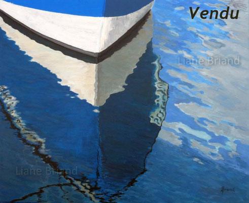 VENDU - Mouillage bateau bleu - taille du tableau: 73x60cm