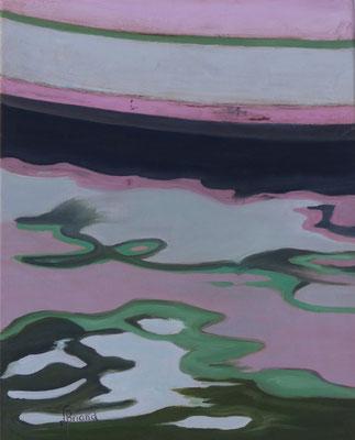 130- Bateau rose au Brésil - 33 x 41 cm - Öl