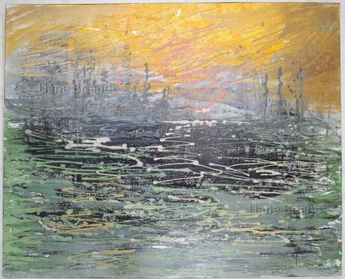 Inspiration soleil levant Monet - taille du tableau: 81x100cm