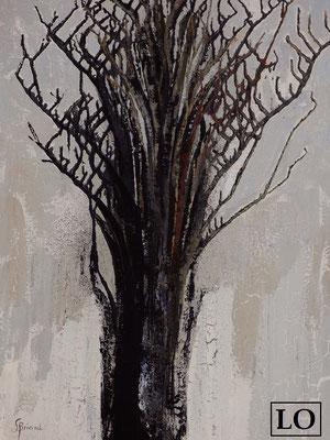 """""""Fond de gris /L0"""" de Liane Briand - taille du tableau: F40 100x81cm - technique Acrylique mixte"""