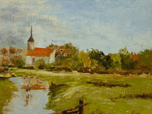 VENDU - Paysage Basse-Normandie - taille du tableau: 50x61cm