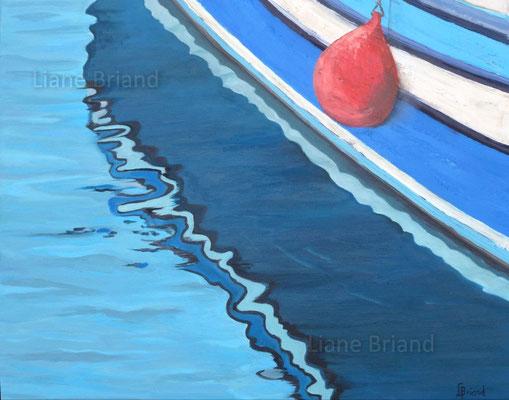 Mouillage bouée rouge - taille du tableau: 73x60cm