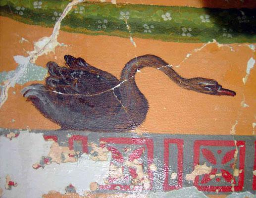 Faber Castellsches Schloss, EG, Wandmalereien in der Damentoilette, Detail Schwan nach der Freilegung und Festigung
