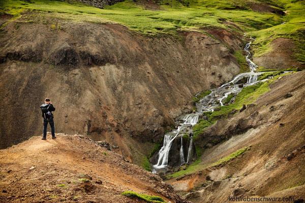 Wasserfall im Hengill Geothermalgebiet