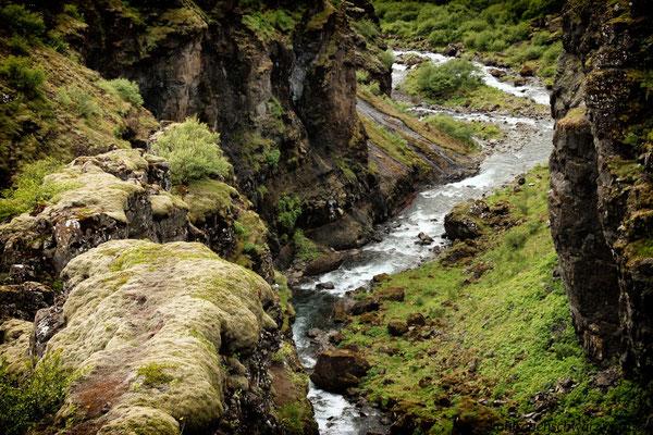 unterwegs zum Glymur - Islands höchster Wasserfall (196 m)