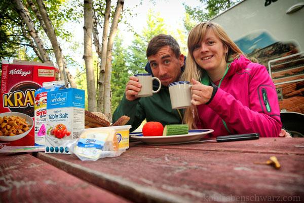 Frühstück auf dem Birch Island Campground