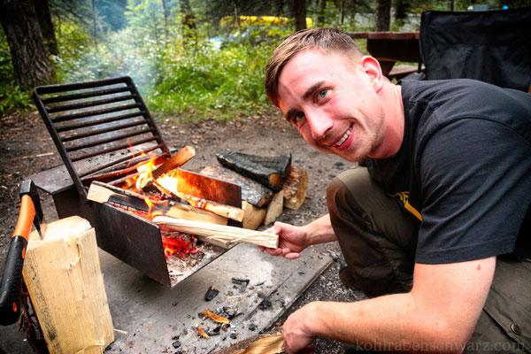 Am Feuerchen auf dem Pocahontas Campground