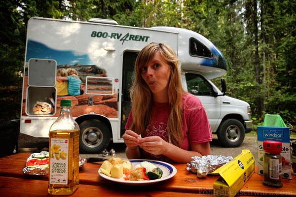 Zubreiten des Abendbrots auf dem Clearwater Campground