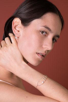 Boucle d'oreille et Bracelet – Fil torsadé & Perle – Silver / Gold Plated