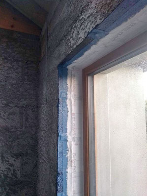 A real window tape was used and the remaining reveal has been covered with air tight paint