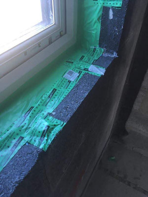 Good installation work but the wrong tape has been used and the bonding area to the block is to small as well
