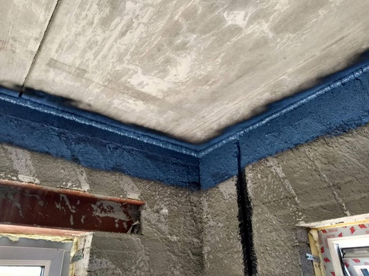 Belgacoat Spray air tight paint has been sprayed after the air tight foam was completely cured.