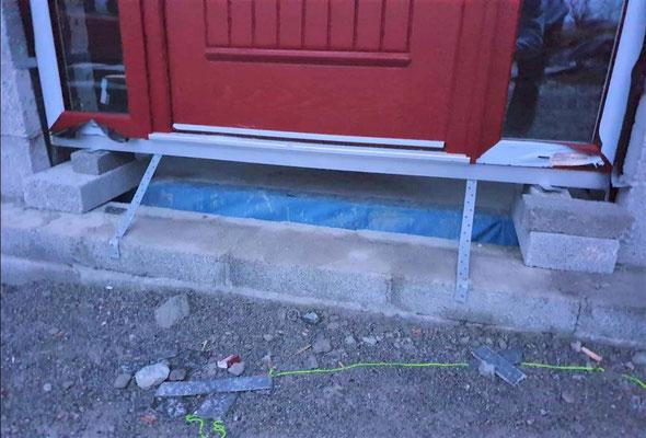 Standard installation detail for door thresholds in Ireland