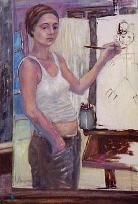 Studium,  2004, Öl auf Karton, 78 x 54 cm