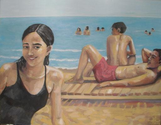 Am Strand, 2015, 110 x 90 cm, Acryl und Leimfarben auf Molino