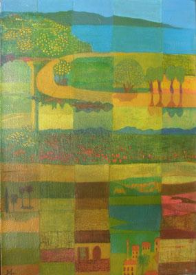 Weg zum Meer, 2014, 100 x 80 cm, Seidenpapier und Acryl auf Molino, verk.