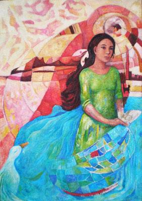 Weltgespräch, 2006, Öl auf Jute, 120 x 85 cm, verkauft