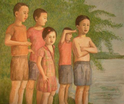 Freundschaft, 2014  50 x 60 cm, Acryl auf Molino   200 €
