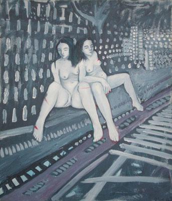 Neue Welt,  2001, Öl auf Molino, 85 x 75 cm