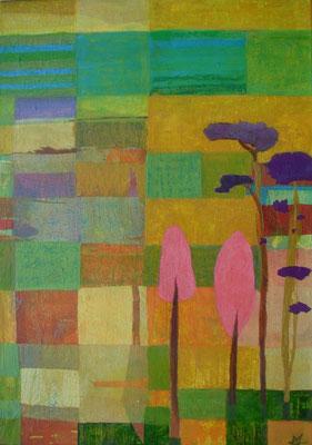 Über die Felder, 2014, 100 x 80 cm, Seidenpapier und Acryl auf Molino, verk.