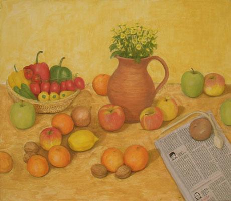 Krug, Mandarinen und Zeitungspapier, 70 x 60, Acyl u. Öl auf Molino     300 €