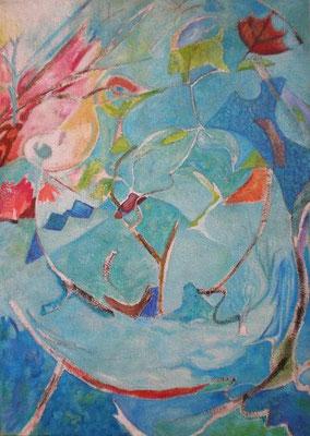 Sommertag und Winter,  2006, Öl auf Jute, 120 x 85 cm