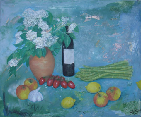 Jause im Frühling,70 x 60, Acryl und Öl auf Molino     300 €