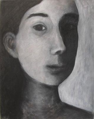 Gesicht I, 2009,  40 x 30 cm, Acryl auf Molino    150,-