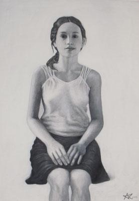 Studie, 2013 *  70 x 50 cm, Leinfarbe und Acryl auf Molino
