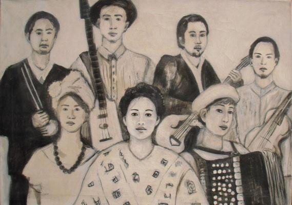 Die Band, 2012  70 x 100 cm, Acryl u. Leim auf Molino    200,-