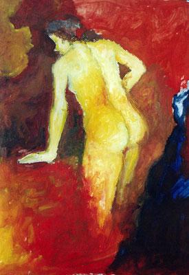 Feuer und Wasser, 2001, Öl auf Papier, 70 x 50 cm