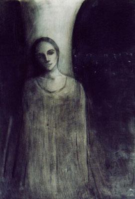Hier bin ich...,  2001, Öl auf Karton, 70 x 50 cm