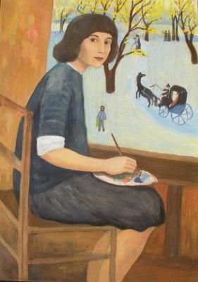 Gerhild Diesner in ihrem Atelier, 2015,70 x 50 cm, Acryl auf Molino
