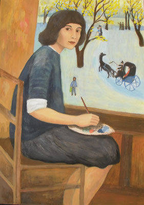 Gerhild Diesner in ihrem Atelier, 2015,70 x 50 cm, Acryl auf Molino     400 €